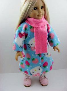 Blue Hello Kitty Fleece Coat with Pink Scarf for the American Girl Doll by TheWhimsicalDoll2, $10.00