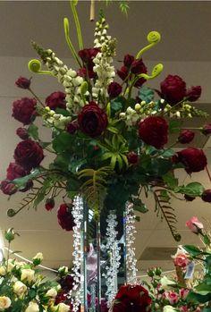 #Red #Rose #Arrangement in glass vase designed by Arcadia Floral & Home Decor