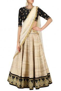 Rianta's  Black and Beige Pure Tussar Silk Lehenga Set #happyshopping #shopnow #ppus
