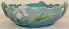 Roseville Pottery Iris Blue Bowl 360-6 from Just Art Pottery