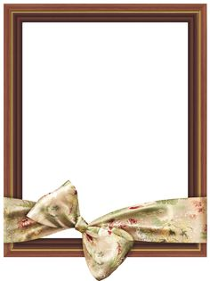 Brown Classic Transparent PNG Frame with Cream Bow