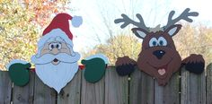 Set of 2, #Santa 's Team Fence Toppers, #Christmas