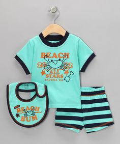 Take a look at this Aqua 'Beach Bum' Shorts Set by Mon Cheri Baby on #zulily today!