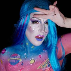 "Pink fluffy unicorns dancing on rainbows  Foundation: @kryolanofficial TV paint stick mixed with @maccosmetics ""balloonacy"" pigment Eyes: @maccosmetics Soft Ochre paint pot @bennyemakeup lumiere grand shadows in Cosmic Blue cosmic violet and Amathyst  @limecrimemakeup velvetines in  Teacup and Rave as a liner Lashes: @sugarpill Baby Dewdrop (top) Brows: @maccosmetics fluid line brow gel ""Soft blonde"" and @anastasiabeverlyhills ""Soft brown"" brow wiz Highlight: @bennyemakeup lumiere lux ""Ice""…"