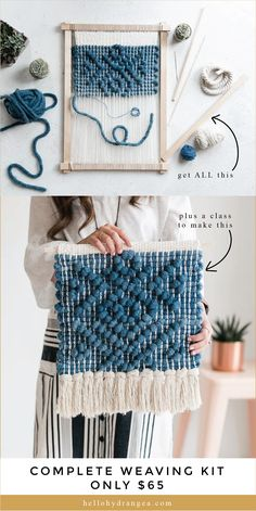 Teaching ideas 418834834101072930 - This is the perfect project for a modern home. Get ALL of this in a complete weaving kit, including a full video class teaching you step-by-step, how to create this tapestry. Diy Crochet Wall Hanging, Crochet Wall Hangings, Weaving Wall Hanging, Weaving Loom Diy, Loom Yarn, Loom Knitting, Free Knitting, Weaving Patterns, Stitch Patterns