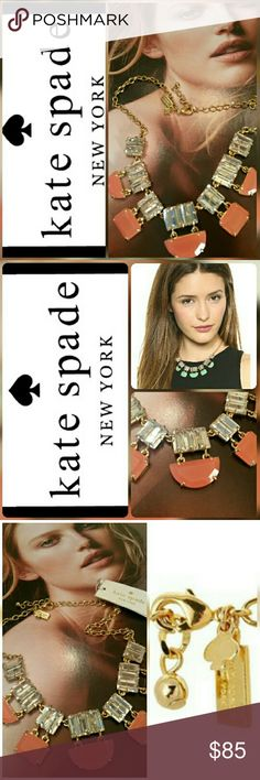 """NEW Kate Spade Varadero necklace NWT Kate Spade Varadero tile necklace. Faceted lumescent crystal baguette stones create a geometric bib on this gold plated coral resin and crystal Kate Spade New York necklace. Gold lobster clasp.  **This coral color is sold out everywhere!** (Picture of model wearing the teal one is only for modeling purposes.)  Length 17.25"""" 44cm Kate Spade Jewelry Necklaces"""