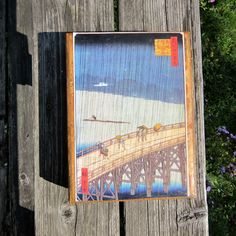 Wood Box - Book Box - Chinese Picture - Hollow Book - Faux Book - Hinged Box by…