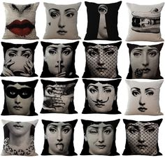 Cotton Linen  Vintage Piero Fornasetti Face Pillow Case Waist Cushion cover New #Unbranded