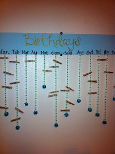 Birthday calendar...or decorate cloth pegs, even easier