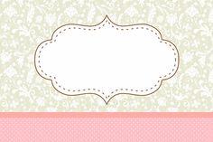 Poá Rosa e Cinza Floral Vintage - Kit Completo com molduras para convites…