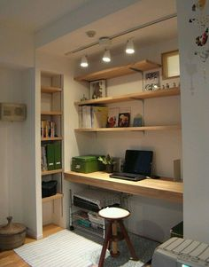 Summer style!! Home office in a closet! Modern, contemporary home office with open shelves and good workspace! Over 10,000 pins on my Summer board here on Pinterest !