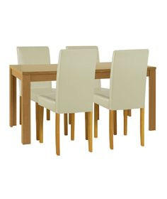 Kentucky White Natural Fixed Top Dining Table And 4 Chairs