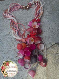 necklace with red silk cocoons