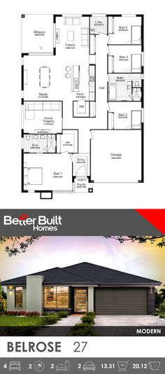 Single Storey House Design. Belrose 27. An ideal family home for a growing family, the Belrose has everything you need to combine a healthy family lifestyle but also give you the space to spread out for some quiet time. #BetterBulit #singleystorey #floorplans #housedesign