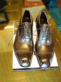 Daizo Emori Japanese bespoke shoemaker semi brogue cap toe with medallion, on a square chisel toe last