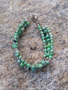 Green Agate and .925 Silver Bracelet by MuskokaTreasures on Etsy