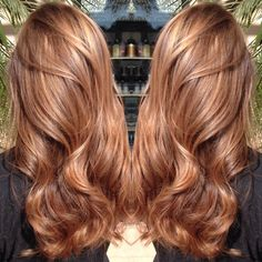 caramel hair color - New Hair Cut Hair Color Auburn, Hair Color Highlights, New Hair Colors, Honey Highlights, Spring Hair Colors, Light Red Hair Color, Caramel Hair With Blonde Highlights, Auburn Blonde Hair, Strawberry Blonde Highlights