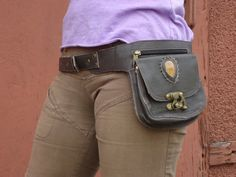Utility Belt Leather Belt Bag Hip Bag Waist Purse Festival Belt in Brown with Jasper