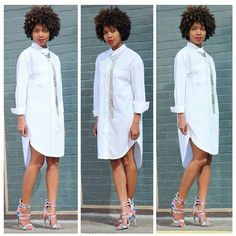 Shirt dress now available at Classy But Sassy on Mackey Street just 4 buildings north of Bar 20 corner light. The building is coral colored with green awnings. African Shirt Dress, Short African Dresses, African Outfits, All White Party Outfits, Afro, Shirt Dress Pattern, Mode Hijab, Classy Women, White Fashion