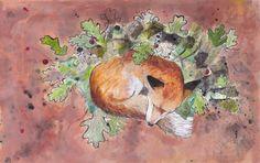 sleeping fox/slapende vos/ autumn www.suzanvdberg.nl