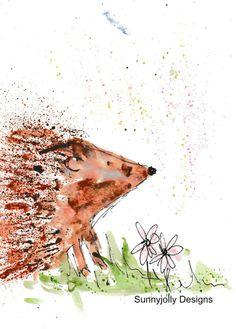 Hedgehog watercolour PRINT, British wildlife, watercolour painting, hedgehog gift, nursery decor, new baby gift, hedgehog, childs bedroom