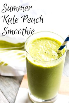 This Summer Kale Peach Smoothie is beyond-easy to make. With just a handful of ingredients and a blender, you can make the perfect healthy summer smoothie that has a hint of sweetness from fresh peaches.