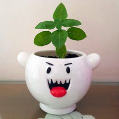 Super Mario Boo Ghost Planter, cute ghost, monster, video games, retro, nintendo by Madarakis on Etsy https://www.etsy.com/listing/245896815/super-mario-boo-ghost-planter-cute-ghost