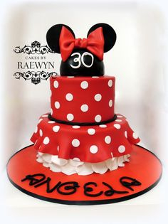 Minnie Mouse in Red - I made this last weekend for a dear friends 30th birthday ♥ Not an original design, there are lots of ones similar all over the internet, but one I have wanted to try for a while. Caramel mud cake with Caramel ganache. Happy 30th Angela!! :) xx