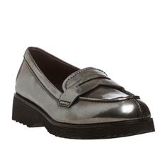 $349, Silver Leather Platform Loafers: Prada Anthracite Metallic Leather Loafers. Sold by Overstock. Click for more info: https://lookastic.com/women/shop_items/128836/redirect