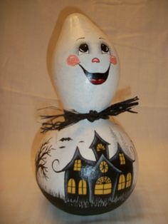 Hand Painted Ghost Gourd by BamaLadyCrafts on Etsy