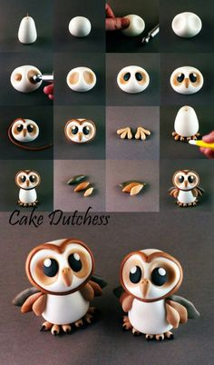 Cute owl cake topper or cupcake topper. Could be done in fondant, gum paste, or modeling chocolate! Great baby owl tutorial by cake dutchess how to make an owl tutorial! Cake Decorating Tutorials about my modelling work, all things are made with Cake Dutc Fondant Cake Toppers, Fondant Cakes, Cupcake Cakes, Owl Cake Toppers, Fondant Bow, Fondant Flowers, Cake Icing, Fruit Cakes, Cake Decorating Tutorials