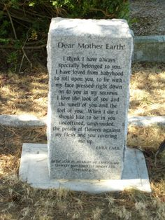Dear Mother Earth, by Emily Carr. In Ross Bay Cemetery, Victoria, BC??
