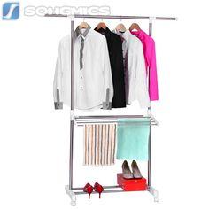 Kleiderständer Kleiderstange Garderobenständer Weiß Rollen Höhe 94-165 cm LLR402