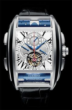 Cellini Jewelers Maitres du Temps Chapter One Tourbillion chronograph GMT moon phase Day-date 18K WG Grand complication