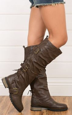 Lace Back Buckle Knee Boots