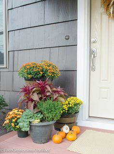 Fall decorating ideas - Fall Home Tour - Four Generations One Roof / How to add curb appeal to your home for Fall.  {sponsored} By adding mums, fresh greens and pumpkins to any step can help create a warm and welcoming scene to your home.