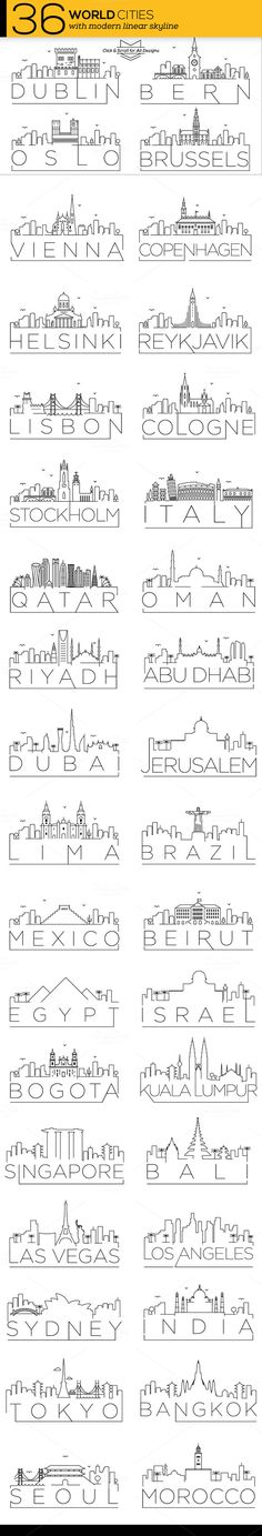 36 Different World Cities Skyline by Avny on @creativemarket