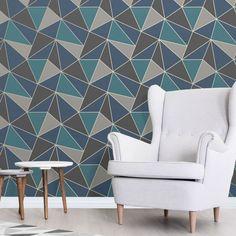 Apex Geometric Wallpaper Aqua and Navy Blue Fine Decor Geometric Wallpaper Room, Camo Wallpaper, Trellis Wallpaper, Orange Wallpaper, Metallic Wallpaper, Luxury Wallpaper, Paper Wallpaper, Wallpaper Decor, Wallpaper Roll