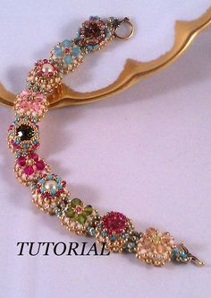 Tutorial for Victorian Antique Slides Beadwoven Bracelet with Swarovski Crystal by wanting