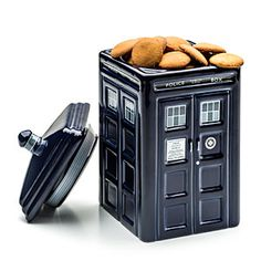 The Doctor Who TARDIS Ceramic Cookie Jar is ceramic with a rubber seal to keep cookies fresher for longer. We've never met a stale cookie, so we're not sure why you'd need that.