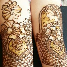 How cool is this mehendi design with caricatures of the bride and the                                                                                                                                                                                                                                                 groom?