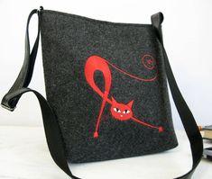Grey crossbody felt purse, Felt bag,   Felt shoulder bag, Cat design bag, Small Bag,women felt bag,  festival bag, With Crossbody Strap by BPStudioDesign on Etsy