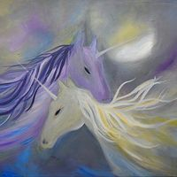 Groovy Kind of Love - Laura Munteanu - Artist Moonlight, Horses, Oil, Abstract, Artist, Animals, Unicorn, Summary, Animales