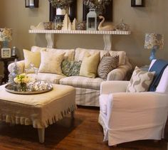 I love the shelf and the drop cloth covered ottoman