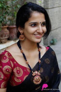 Buy Haaram sets at India's best Online jewellery shopping. Kerala Saree Blouse Designs, Saree Blouse Neck Designs, Saree Blouse Patterns, Gold Earrings Designs, Gold Jewellery Design, Gold Jewelry, Saree Jewellery, Stylish Blouse Design, Saree Trends