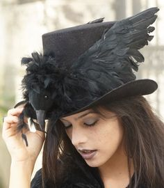 "Raven top hat - Chasing Fireflies. Halloween ""Beware the Birds!"" Edgar Allan Poe & Alfred Hitchcock Black & White Party"