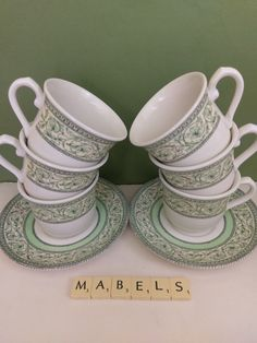 JOHNSON BROTHERS ~RHS APPLEBEE~ cups u0026 saucers & Bhs BARRATTS ~LINCOLN~ breakfast cups and saucers x 6 | Mabelu0027s ...