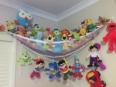 Soft toy storage - now they can watch the kids play