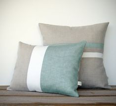Sage Colorblock and Stripe Pillow Set -  Striped Pillow (16x16) - Colorblock Pillow (12x16) by JillianReneDecor - Hemlock on Etsy, $135.00