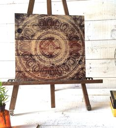 Vintage Lace Wood Art No. 7   This lovely wood print is of an original reclaimed wood painti...   Artwork